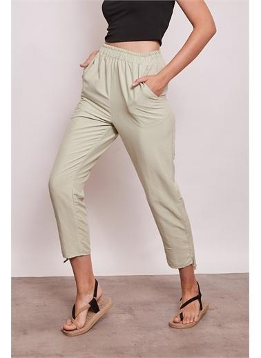 Jument İç Göstermez Viskon Poplin Beli Lastikli Cepli Paçası Büzgülü Rahat Pantolon -Mint Yeşil